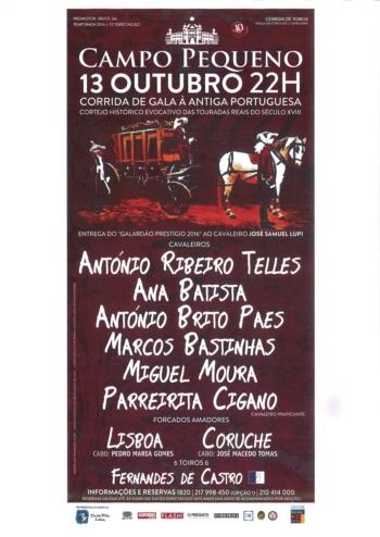 13 de Outubro: Corrida de Gala à Antiga Portuguesa encerra o Abono de 2016 no Campo Pequeno