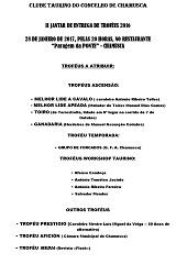 Programa do II Jantar de Entrega de Troféus