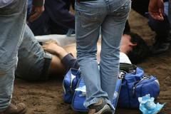 João Pamplona cai durante o treino