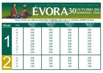 Nova tabela de preços para a Corrida de Gala à Antiga Portuguesa em Évora