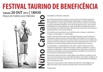 20 de Outubro Realiza-se na Ilha Terceira um Festival Taurino de Benificência para Nuno Carvalho