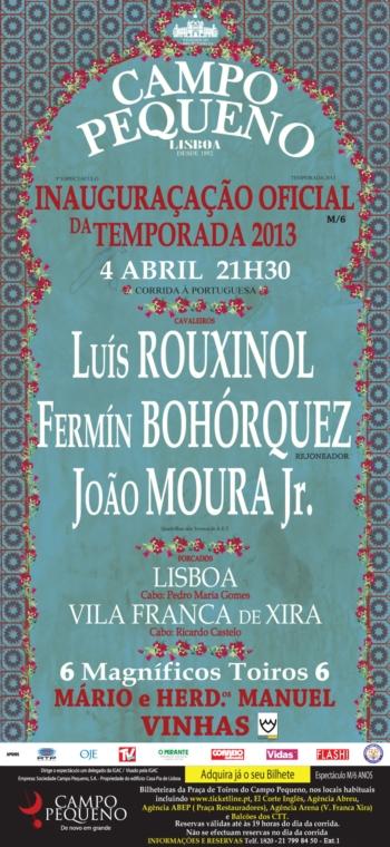 Inauguração do Abono no Campo Pequeno: Quinta-feira, 4 de Abril, às 21h30m