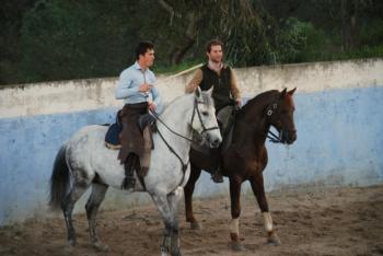 Daniel Luque em preparação na Torrinha com o cavaleiro João Ribeiro Telles