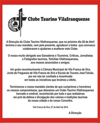 Agradecimento da direcção do Clube Taurino Vilafranquense