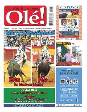Capa Jornal Olé nº 349 - Amanhã dia 7 de Maio - Quinta-feira - Nas bancas!