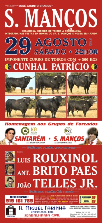 Tradicional corrida de toiros em São Manços a 29 de Agosto