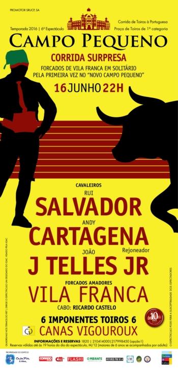 Forcados de Vila Franca em solitário e Andy Cartagen, triunfador em Madrid, na corrida surpresa